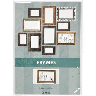 KARTEN und Zubehör / Cards 16 archi a telaio! Foglio 26,2x18,5 cm, in colori metallici