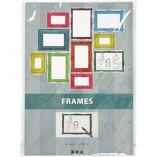 KARTEN und Zubehör / Cards Frame, vel 26,2 x18, 5 cm, felle kleuren, 16 sorteren. Vel