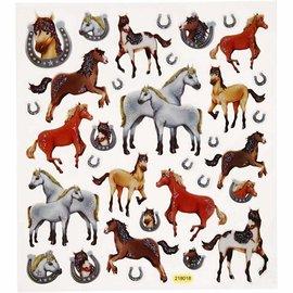 STICKER / AUTOCOLLANT Fantaisie autocollants scintillants, feuille 15x16, 5 cm, chevaux, 1 feuille