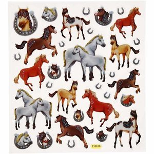 Sticker Fantaisie autocollants scintillants, feuille 15x16, 5 cm, chevaux, 1 feuille
