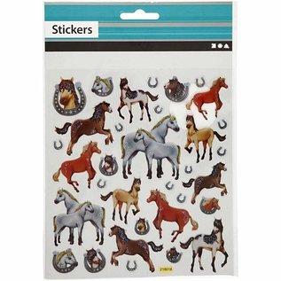 STICKER / AUTOCOLLANT Jobb Glitter klistremerke, ark 15x16, 5 cm, hester, 1 ark