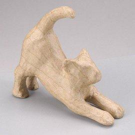 Objekten zum Dekorieren / objects for decorating Een PappArt figuur, kat uitrekken