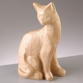 Objekten zum Dekorieren / objects for decorating PappArt figure, cat sitting