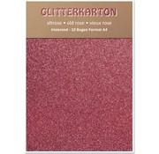 Karten und Scrapbooking Papier, Papier blöcke Glitter cardboard, 10 sheets 280g / m², A4, altrosa