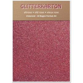 Karten und Scrapbooking Papier, Papier blöcke Glitter karton, 10 vellen 280g / m², A4, altrosa