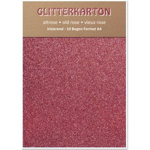 Karten und Scrapbooking Papier, Papier blöcke Glitter carton, 10 feuilles 280g / m², A4, altrosa