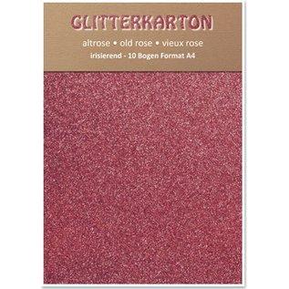 Karten und Scrapbooking Papier, Papier blöcke Glitterkarton,10 Bogen 280g/qm, Format A4, altrosa