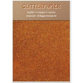Karten und Scrapbooking Papier, Papier blöcke Glitter iridescent paper, format A4, 150 g, copper
