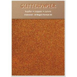 Karten und Scrapbooking Papier, Papier blöcke Glitter papier irisé, format A4, 150 g, le cuivre