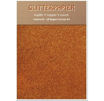Karten und Scrapbooking Papier, Papier blöcke Glitter iriserende papir, A4-format, 150 g, kobber