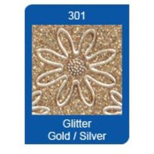 STICKER / AUTOCOLLANT Glitter Ziersticker, 10 x 23cm, getallen, in zilver-goud