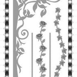 Yvonne Creations Stempelen en embossing stencil, bloem schommel met Pergola