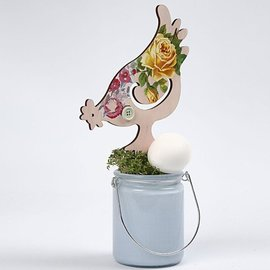 Objekten zum Dekorieren / objects for decorating NUEVO: pollo, H 26 19,5 cm, 2 diseños surtidos