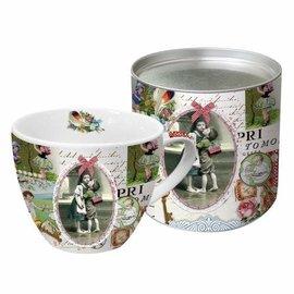 DECOUPAGE AND ACCESSOIRES 1 Exclusive Designer Vintage tasse jolie boîte métallique (grande)