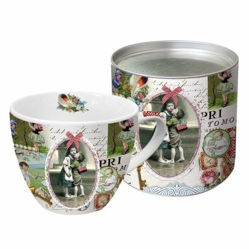 DECOUPAGE AND ACCESSOIRES 1 Exclusive Designer Vintage cup in pretty metal box (large)