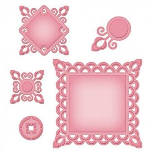 Spellbinders und Rayher Metal template Shapeabilities, Asian Motifs, ø 2.7 to 10 x 10 cm, A Set of 5 templates!