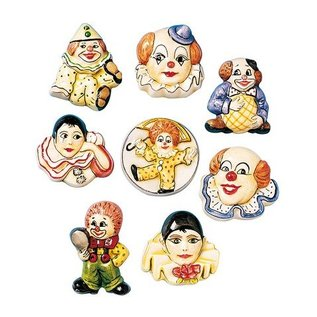 Modellieren 6 clown broches, schimmels, 4-5cm
