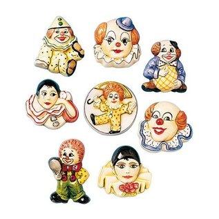 Modellieren 6 Clownbroschen, Gießformen, 4-5cm