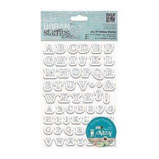 Docrafts / Papermania / Urban Clear stempels, 12 x 17 cm, Urban Stamp - borduurte letters (Gestikt alfabet