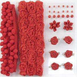 DEKOBAND / RIBBONS / RUBANS ... Poms & Fleurs - Embellissement, poms et des fleurs pom fixés rouge, assorti