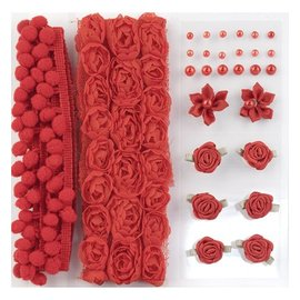 DEKOBAND / RIBBONS / RUBANS ... Poms & Flowers - Versiering, pom poms en bloemen set Rood, assorti