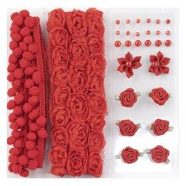 DEKOBAND / RIBBONS / RUBANS ... Poms y Flores - Embellecimiento, pompones y flores establecen Rojo, assorti