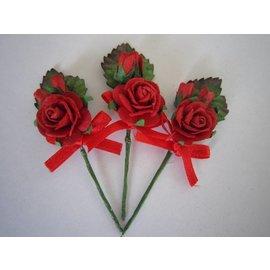 BASTELSETS / CRAFT KITS Ramos 3 mini rosa roja con la cinta. - Copy