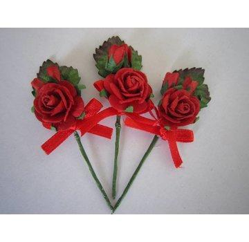 BASTELSETS / CRAFT KITS 3 mini rød rose buketter med bånd. - Copy