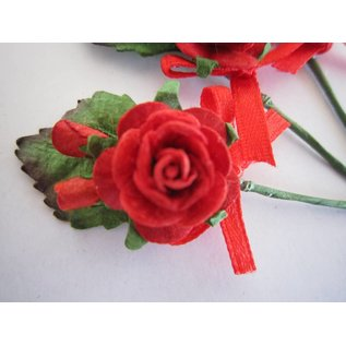 BASTELSETS / CRAFT KITS A augmenté de 3 mini-bouquets rouge avec ruban. - Copy