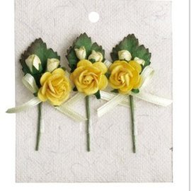 Embellishments / Verzierungen 3 MIni rose bouquets with yellow bow
