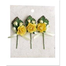 Embellishments / Verzierungen 3 mini bouquet di rosa con fiocco giallo