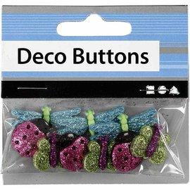 Embellishments / Verzierungen NIEUW: Motif Buttons, 15-30 mm, insecten, 9 stuks.