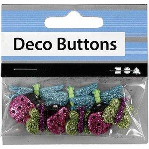 Embellishments / Verzierungen NEW: Motif Buttons, 15-30 mm, insects, 9 pcs.