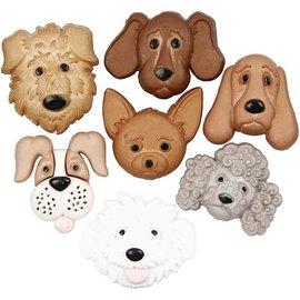 Embellishments / Verzierungen Motif Buttons, 20-25 mm, dogs, 7 pcs.