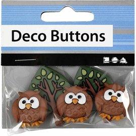 Embellishments / Verzierungen NEW: Motif Buttons, 25-40 mm, night owls, 3 pcs.
