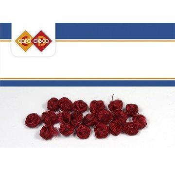 DEKOBAND / RIBBONS / RUBANS ... piccole rose rosse, 20 pezzi