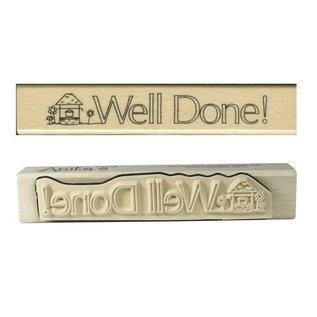 """Stempel / Stamp: Holz / Wood """"Well done!"""""""