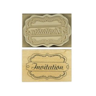 """Stempel / Stamp: Holz / Wood """"Uitnodiging"""""""