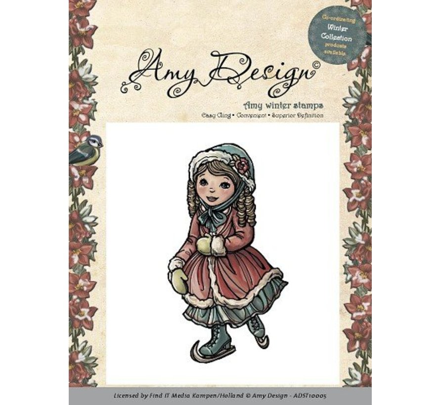 AMY DESIGN,  Rubber Stamp - Skating girl