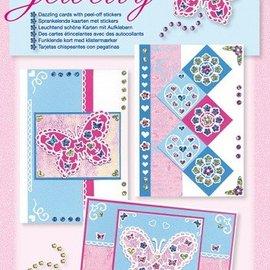 Komplett Sets / Kits NIEUW; Bastelset, Jewelly Butterflies set, heldere mooie kaarten met sticker