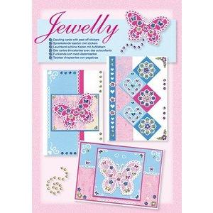 Komplett Sets / Kits NEW; Bastelset, Jewelly Butterflies set, bright beautiful cards with sticker