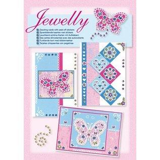 Komplett Sets / Kits Craft Kit, jewelly Butterflies sett, lyse vakre kort med klistremerke