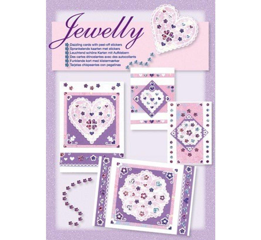 Kit Craft, juego Jewelly floral, hermosas tarjetas de brillantes con etiqueta