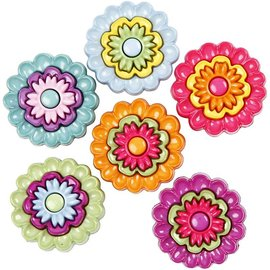 Embellishments / Verzierungen Motif buttons, 20 mm, Flowers, 6 pcs.