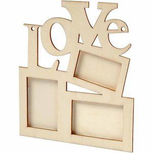 "Objekten zum Dekorieren / objects for decorating Collage of 3 wooden frame and the word ""LOVE"""