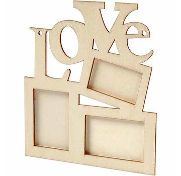 """Objekten zum Dekorieren / objects for decorating Collage af 3 træramme og ordet """"LOVE"""""""
