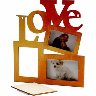 "Objekten zum Dekorieren / objects for decorating Collage di 3 telaio di legno e la parola ""LOVE"""