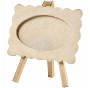 Objekten zum Dekorieren / objects for decorating Wood frame with wavy edge, mounted on an easel