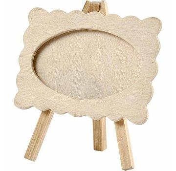 Objekten zum Dekorieren / objects for decorating Træramme med bølget kant, monteret på et staffeli