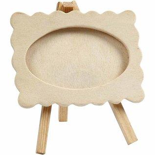 Objekten zum Dekorieren / objects for decorating Frame op een schildersezel, grootte 13,2 x11, 5 cm. houten